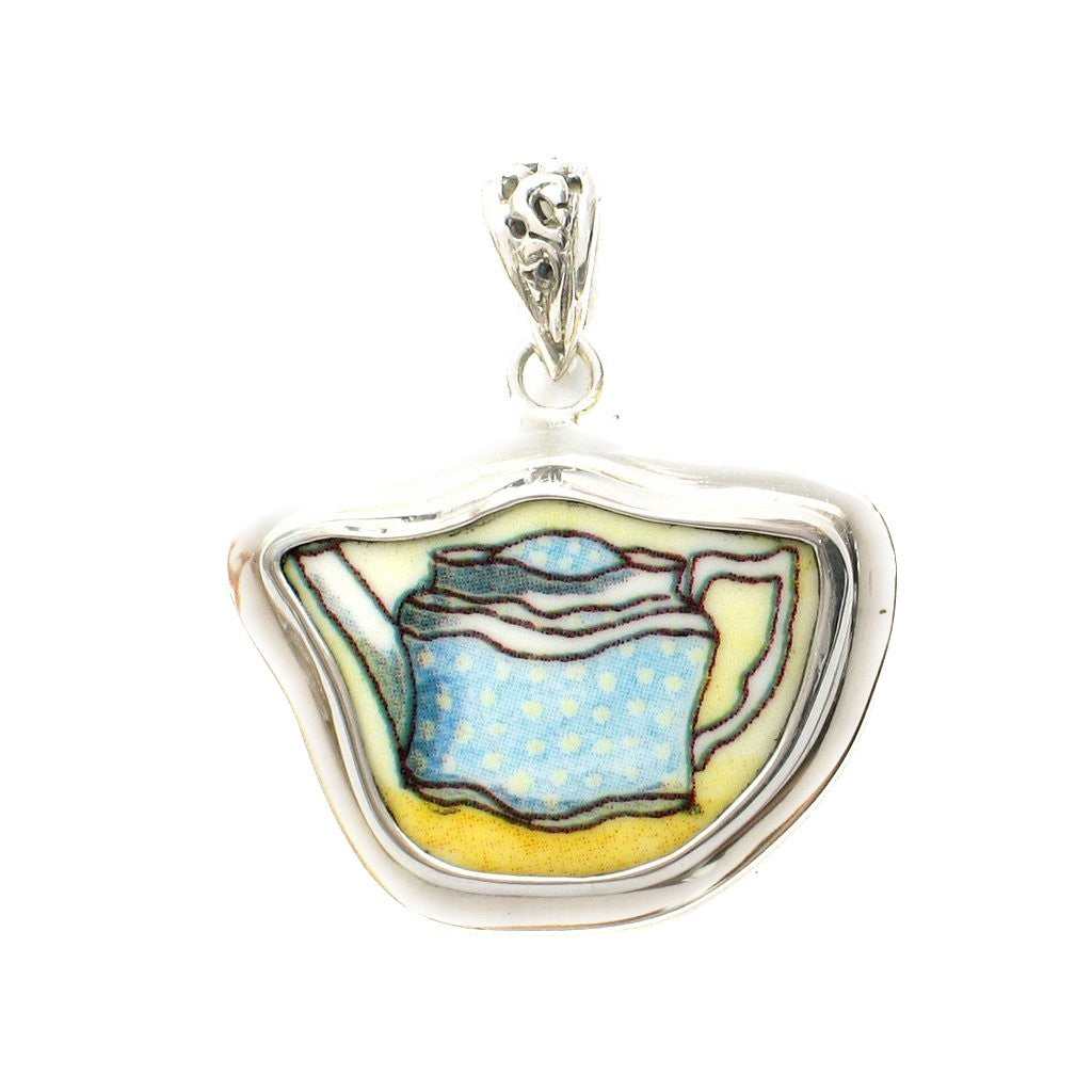 Broken China Jewelry Duchess Teapot Blue Speckled Tea Pot Sterling Pendant - Vintage Belle Broken China Jewelry