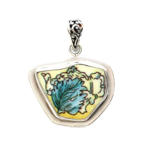Broken China Jewelry Duchess Teapot Leaf Tea Pot Sterling Pendant - Vintage Belle Broken China Jewelry