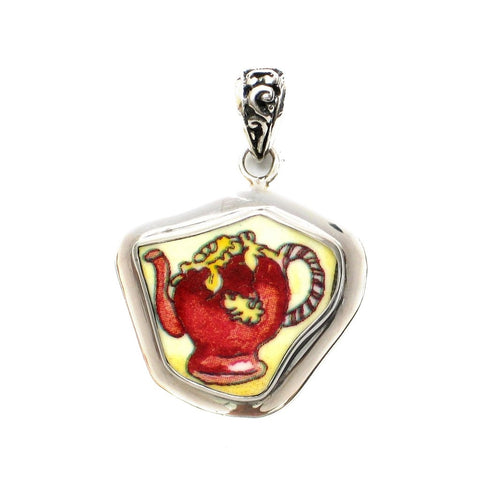 Broken China Jewelry Duchess Teapot Red and Gold Tea Pot Sterling Pendant