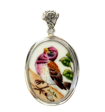 Broken China Jewelry Boehm Purple Finch Bird (New Hampshire) Sterling Oval Pendant - Vintage Belle Broken China Jewelry