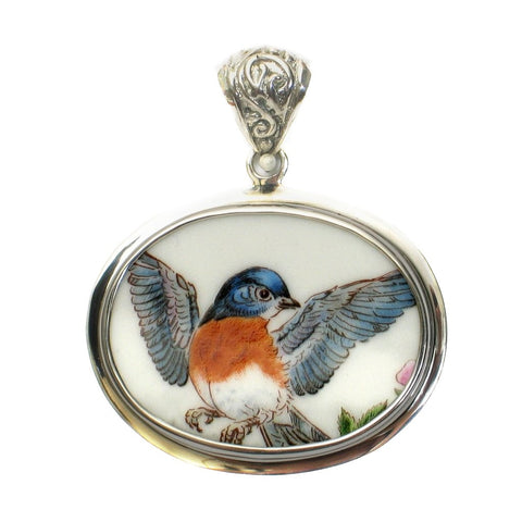 Broken China Boehm Eastern Bluebird Blue Bird (New York) Sterling Horizontal Oval Pendant - Vintage Belle Broken China Jewelry
