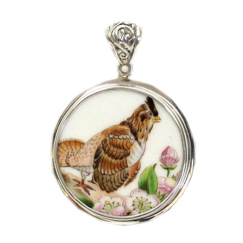 Broken China Boehm Ruffed Grouse Bird & Mountain Laurel Flower (Pennsylvania) Sterling Circle Pendant - Vintage Belle Broken China Jewelry