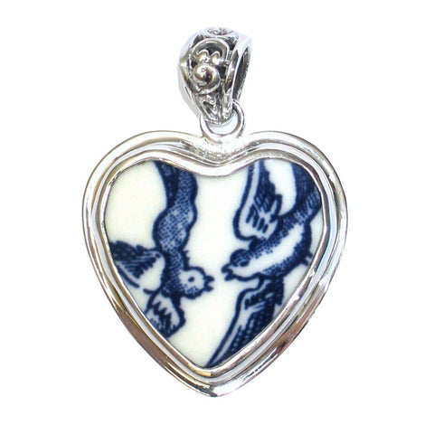 Broken China Jewelry Churchill Blue Willow Love Birds Sterling Heart Pendant - Vintage Belle Broken China Jewelry