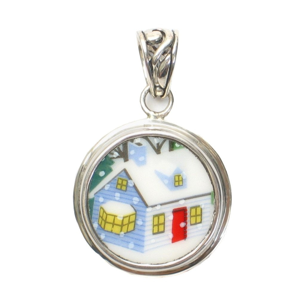 Broken China Jewelry Sleighride Winter House Home Sterling Silver Pendant - Vintage Belle Broken China Jewelry