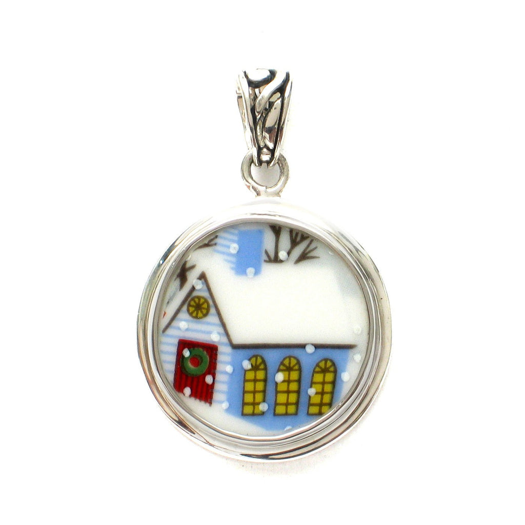 Broken China Jewelry Sleighride Winter House Sterling Silver Pendant - Vintage Belle Broken China Jewelry