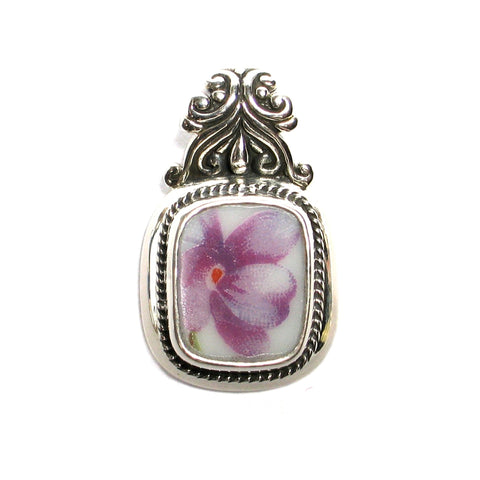 Broken China Jewelry Rossetti Spring Violets Purple Violet Rectangle Sterling Pendant