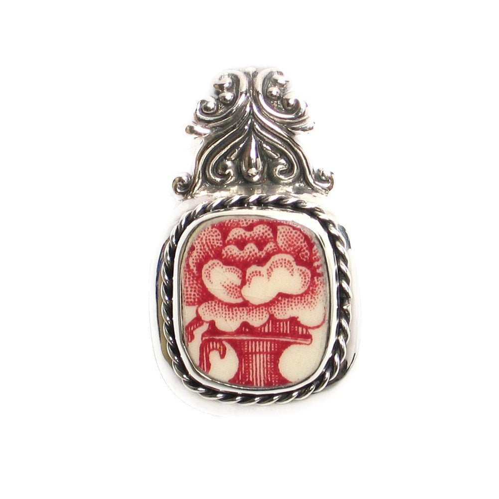 Broken China Jewelry Old Britain Castles Red Flower with Vase Johnson Bros Sterling Silver Pendant - Vintage Belle Broken China Jewelry