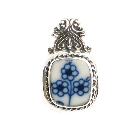 Broken China Jewelry Blue Danube Lipper Three Flowers Sterling Silver Pendant - Vintage Belle Broken China Jewelry