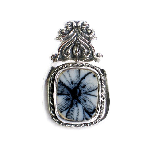 Broken China Jewelry English Flow Flo Blue and White Floral Sterling Silver Pendant - Vintage Belle Broken China Jewelry