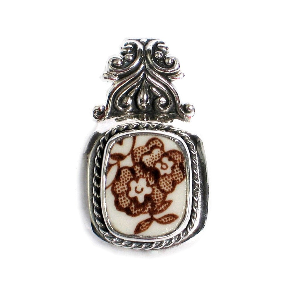 Broken China Jewelry Meakin Brown Tonquin Floral Sterling Silver Pendant - Vintage Belle Broken China Jewelry