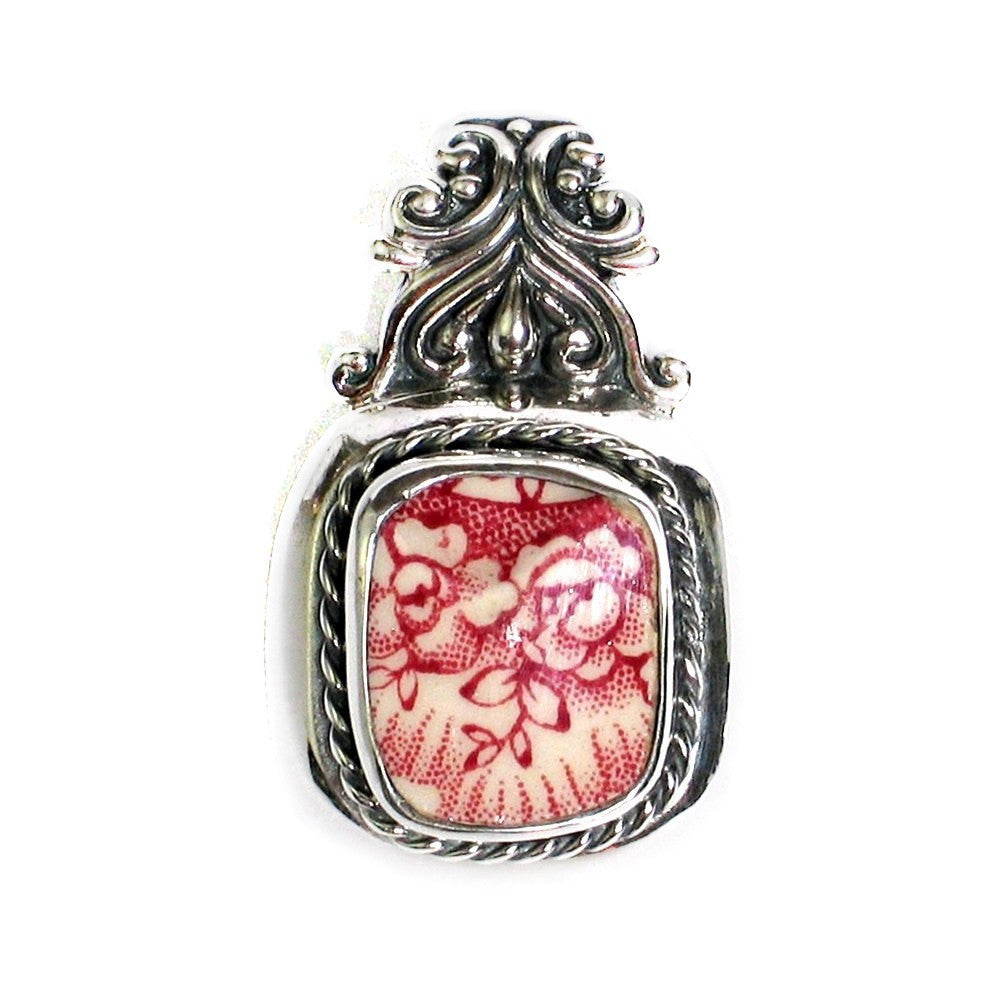 Broken China Jewelry Old Britain Castles Johnson Bros Red Double Flowers Sterling Silver Pendant - Vintage Belle Broken China Jewelry