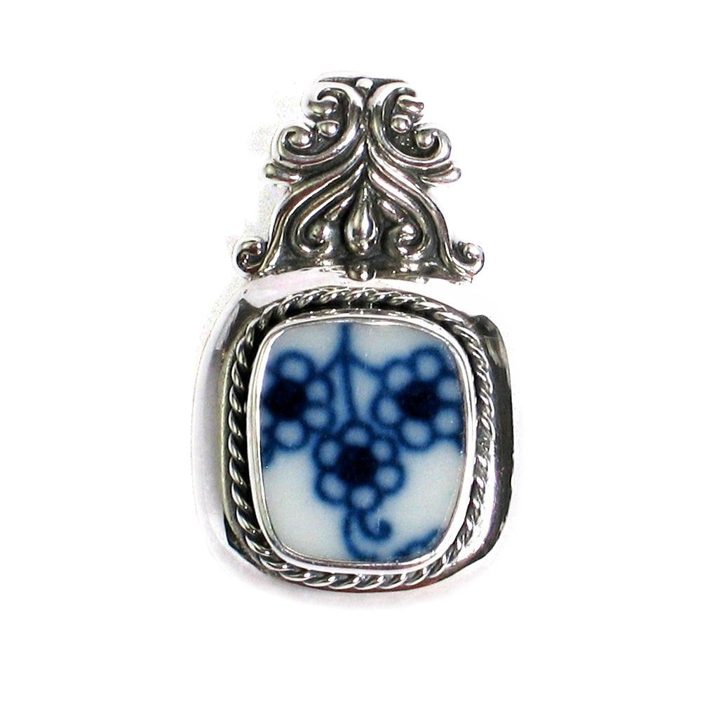 Broken China Jewelry Blue Danube Lipper Triple Flowers Sterling Silver Pendant - Vintage Belle Broken China Jewelry