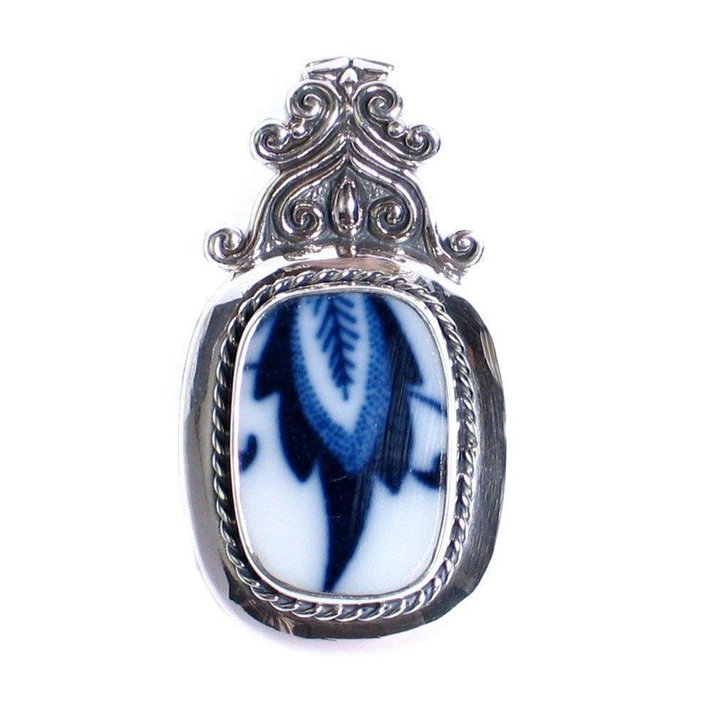 Broken China Jewelry Blue Danube Lipper Sterling Silver Pendant - Vintage Belle Broken China Jewelry
