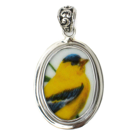 Broken China Jewelry American Goldfinch Garden Bird Sterling Oval Pendant - Vintage Belle Broken China Jewelry