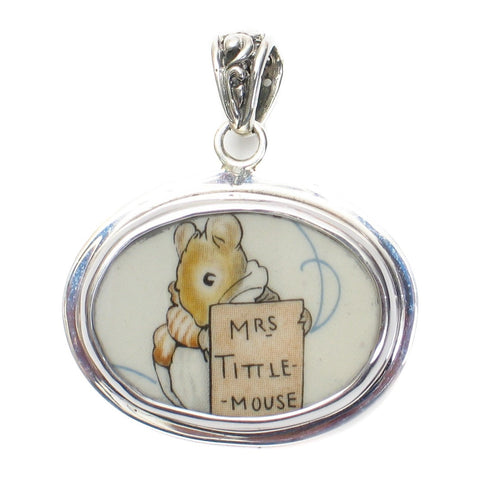 Broken China Jewelry Beatrix Potter Mrs. Tittle Mouse Sterling Horizontal Oval Pendant - Vintage Belle Broken China Jewelry