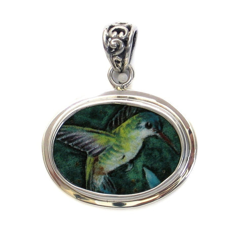 Broken China Jewelry Violet-Crowned Hummingbird Bird Sterling Horizontal Oval Pendant - Vintage Belle Broken China Jewelry