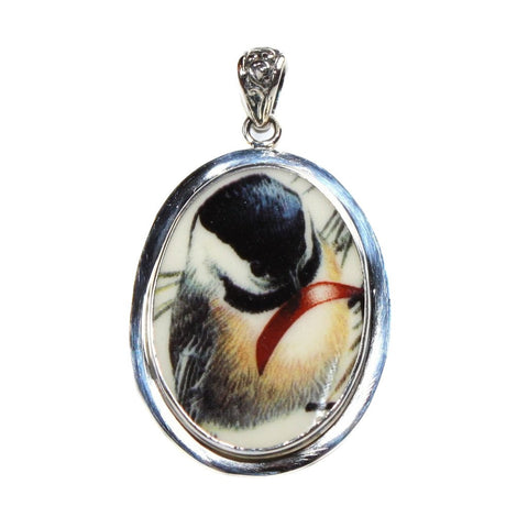 Broken China Jewelry Winter Greetings Chickadee Bird Sterling Silver Pendant - Vintage Belle Broken China Jewelry