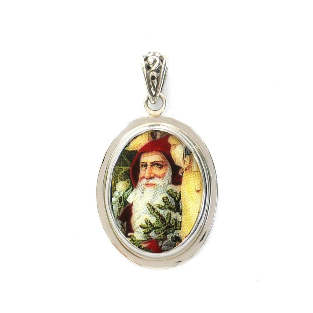 Broken China Jewelry Victorian Christmas Santa Close Up Small Sterling Oval Pendant