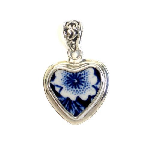 Broken China Jewelry Burleigh Blue Calico Flower Sterling Small Heart A Pendant - Vintage Belle Broken China Jewelry