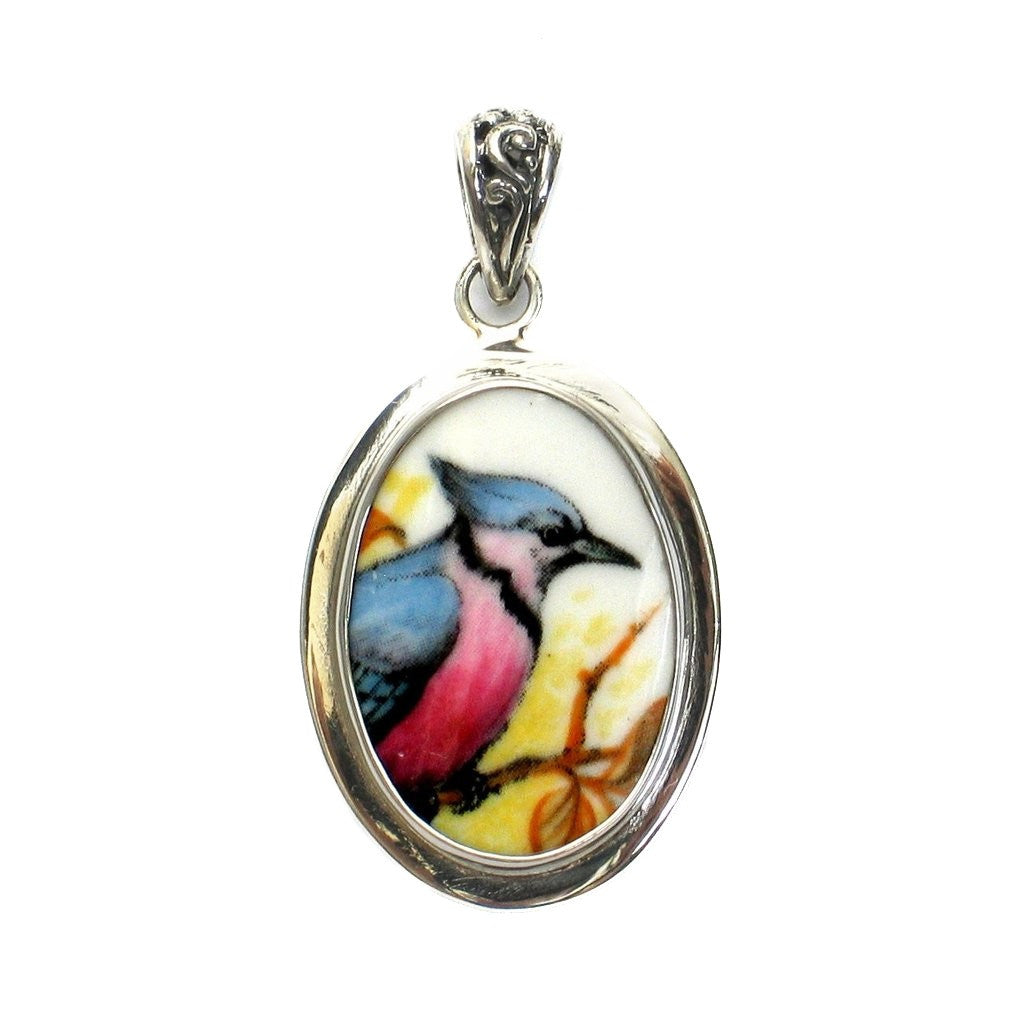Broken China Jewelry Blue Jay Bird Right Facing Sterling Oval Pendant - Vintage Belle Broken China Jewelry