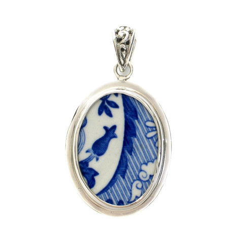 Broken China Jewelry Spode Blue Italian Flower Bud Sterling Pendant
