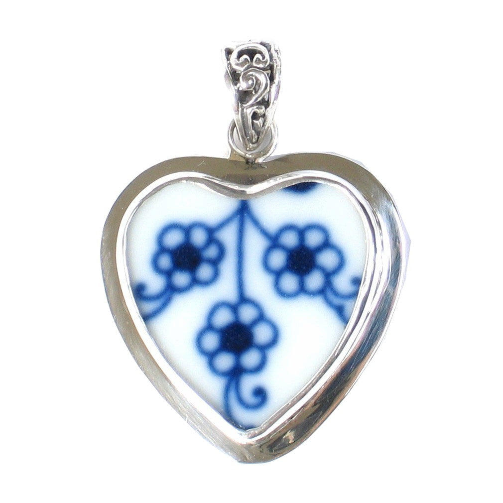 Broken China Jewelry Blue Danube Triple Flowers Sterling Heart Pendant