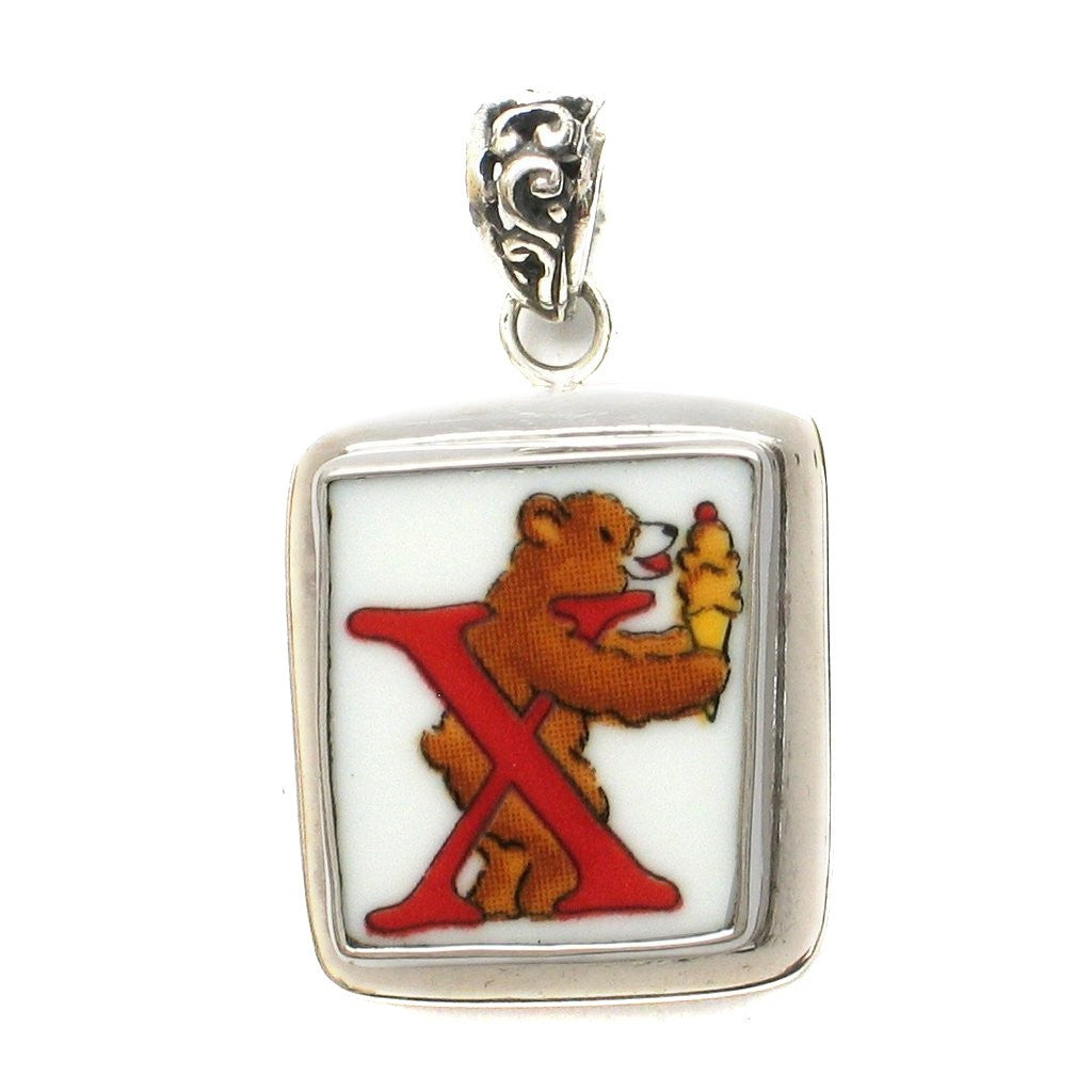 Broken China Jewelry Alphabet Bear Monogram Letter X Sterling Pendant