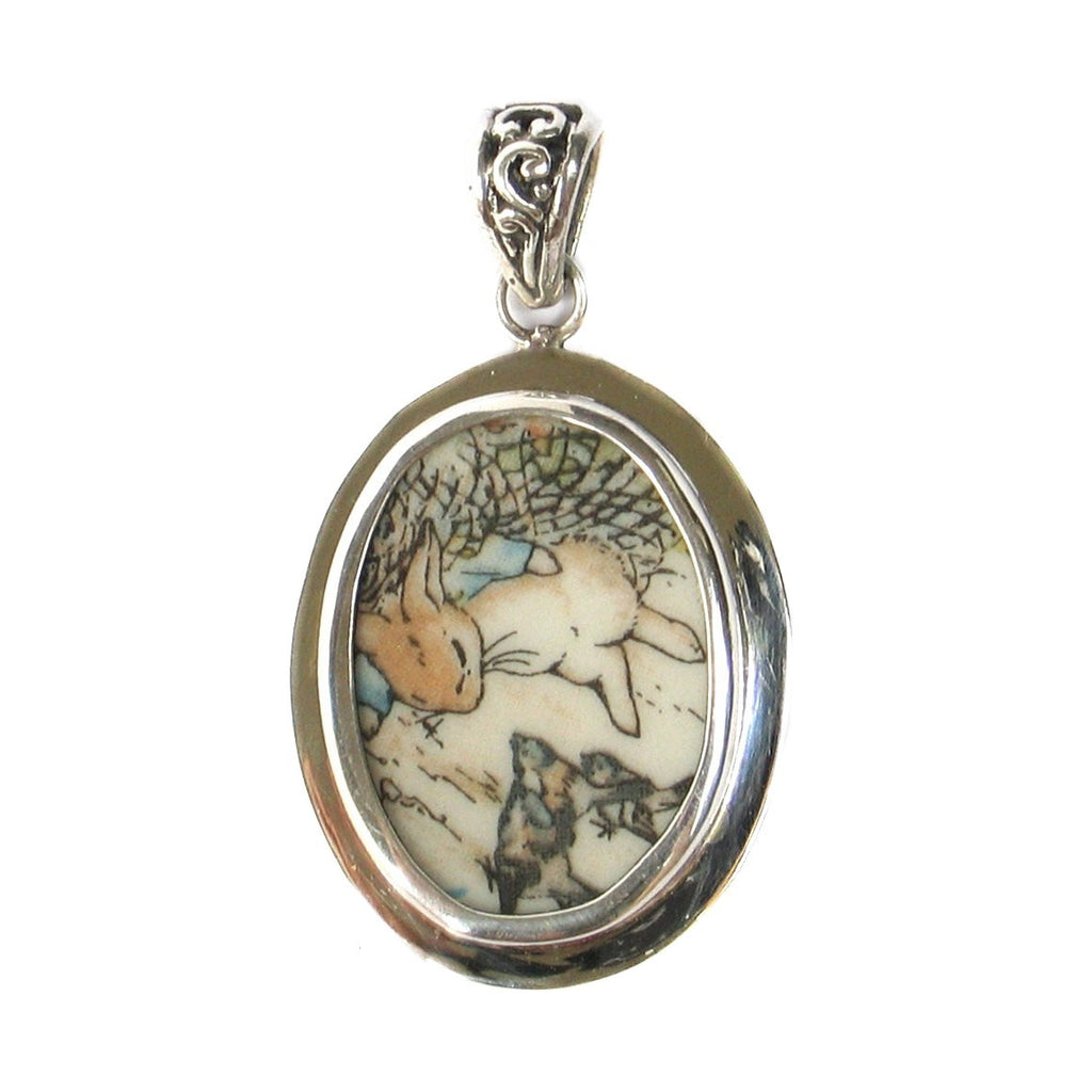 Broken China Jewelry Beatrix Potter Peter Rabbit Visiting Birds Sterling Pendant - Vintage Belle Broken China Jewelry