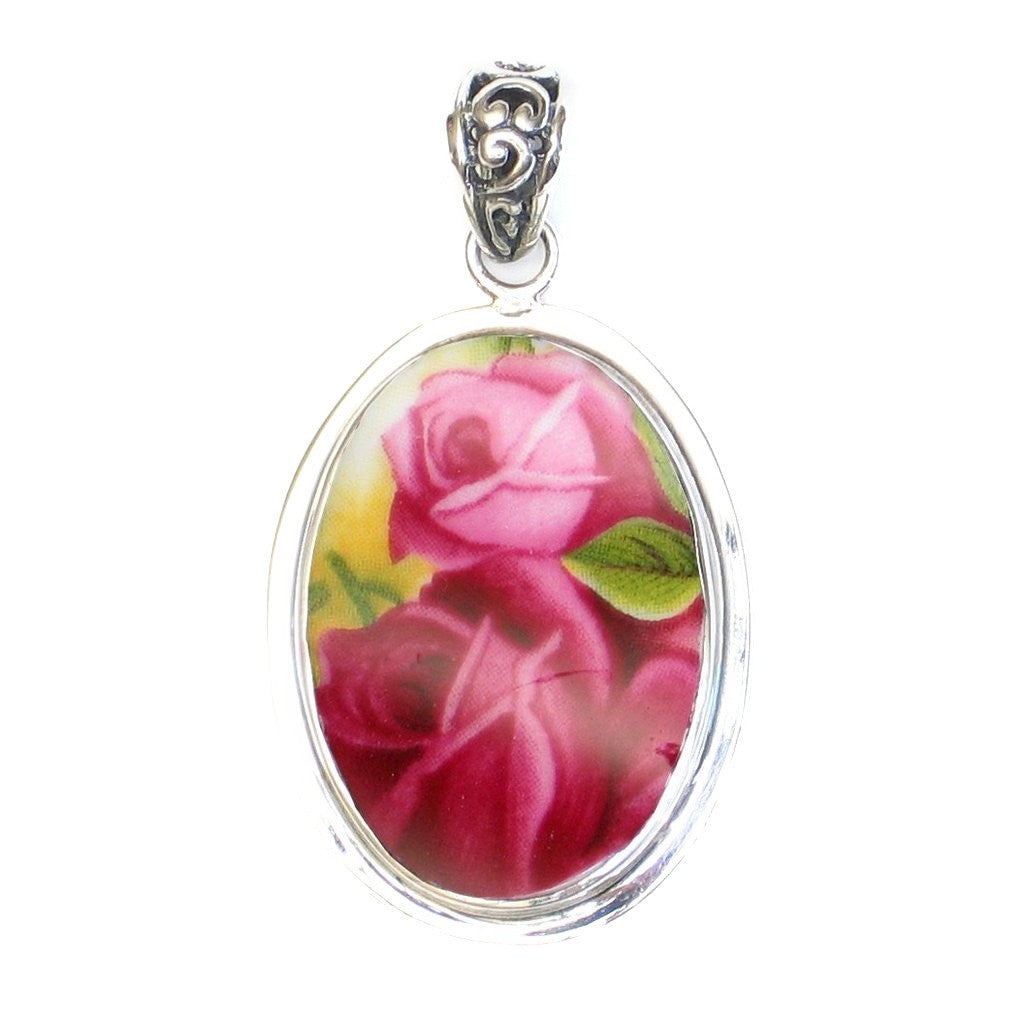 Broken China Jewelry Old Country Roses Double Red Pink Rose Sterling Oval Pendant - Vintage Belle Broken China Jewelry