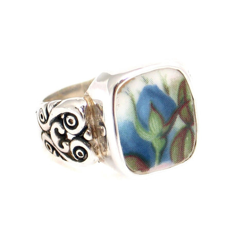 Size 7 Broken China Jewelry Blue Moonlight Roses Flame Bud Sterling Silver Ring - Vintage Belle Broken China Jewelry