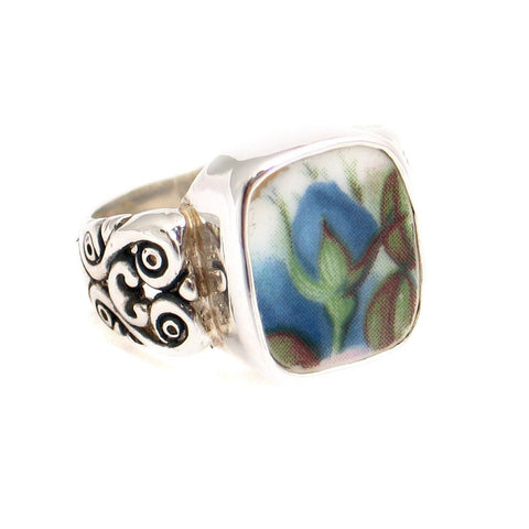 Size 10 Broken China Jewelry Blue Moonlight Roses Flame Bud Sterling Silver Ring - Vintage Belle Broken China Jewelry