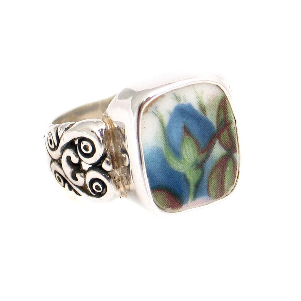 Size 11 Broken China Jewelry Blue Moonlight Roses Flame Bud Sterling Silver Ring - Vintage Belle Broken China Jewelry