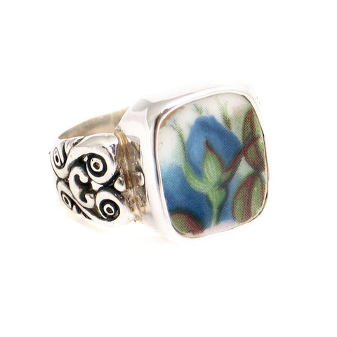Size 9 Broken China Jewelry Blue Moonlight Roses Flame Bud Sterling Silver Ring - Vintage Belle Broken China Jewelry