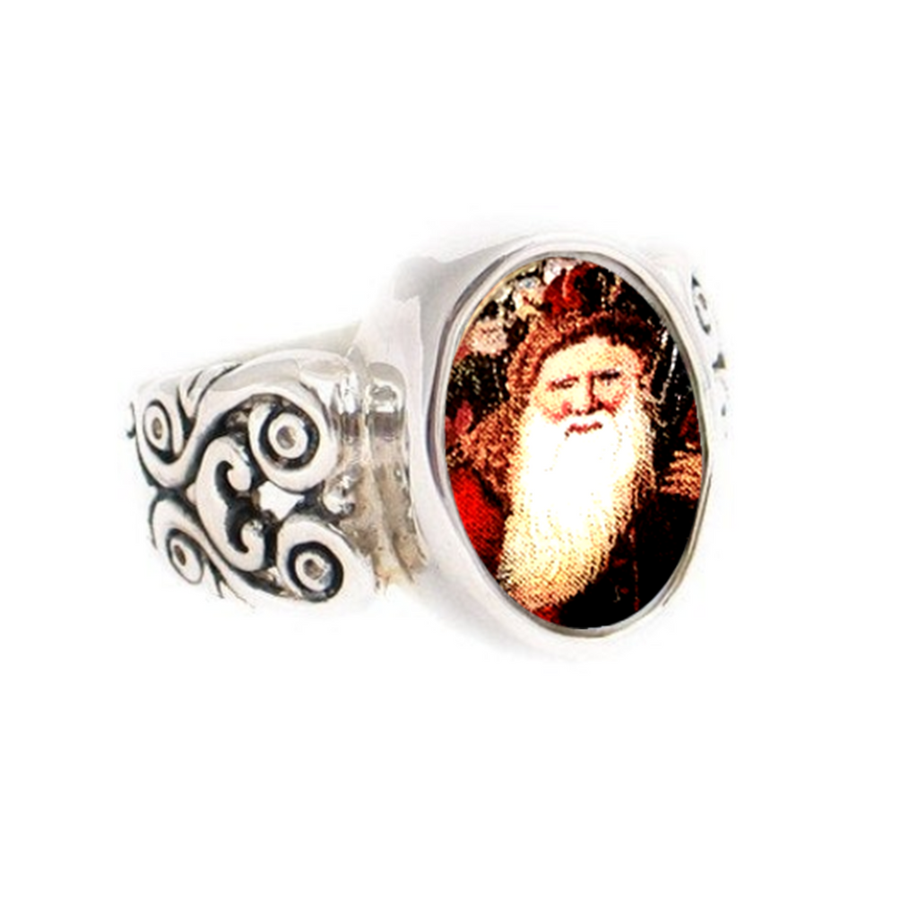 Size 6 Broken China Jewelry Victorian Christmas Santa Sterling Oval Ring