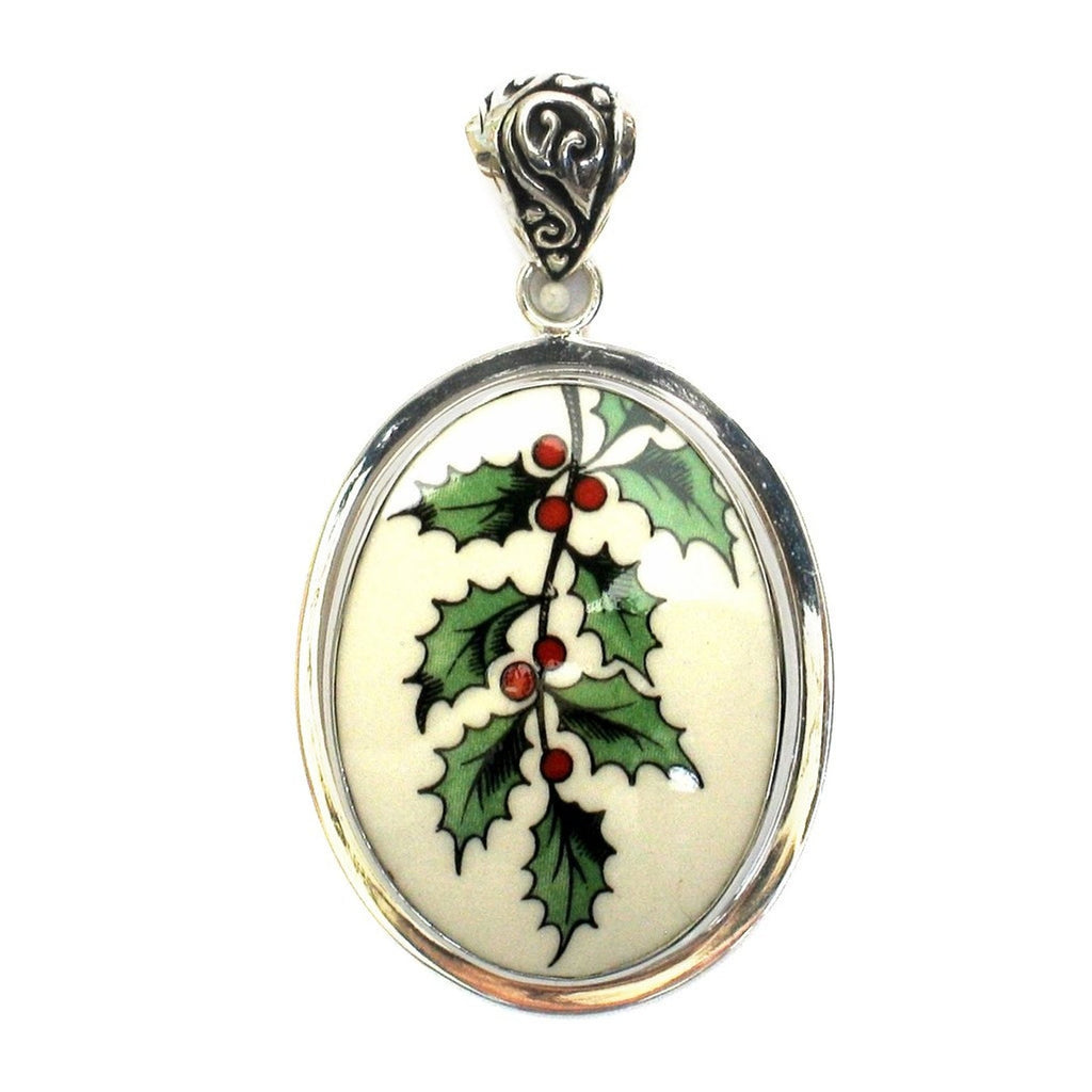 Broken China Jewelry Spode Christmas Tree Holly Large Sterling Oval Pendant