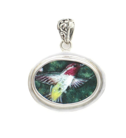 Broken China Jewelry Anna's Hummingbird Bird Sterling Horizontal Oval Pendant