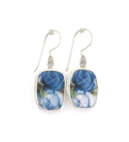 Broken China Jewelry Moonlight Roses Light and Dark Blue Rose Sterling Earrings