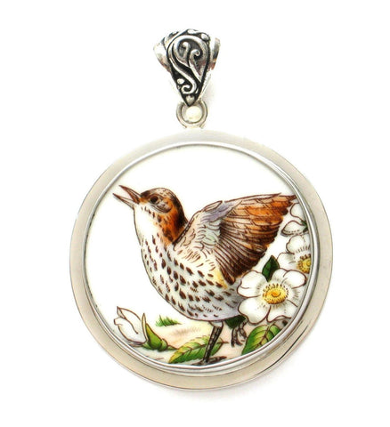 Broken China Boehm Brown Thrasher Bird & Cherokee Rose (Georgia) Sterling Circle Pendant