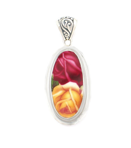 Broken China Jewelry Old Country Roses Dark Pink (Red) Yellow Rose Sterling Tall Oval Pendant