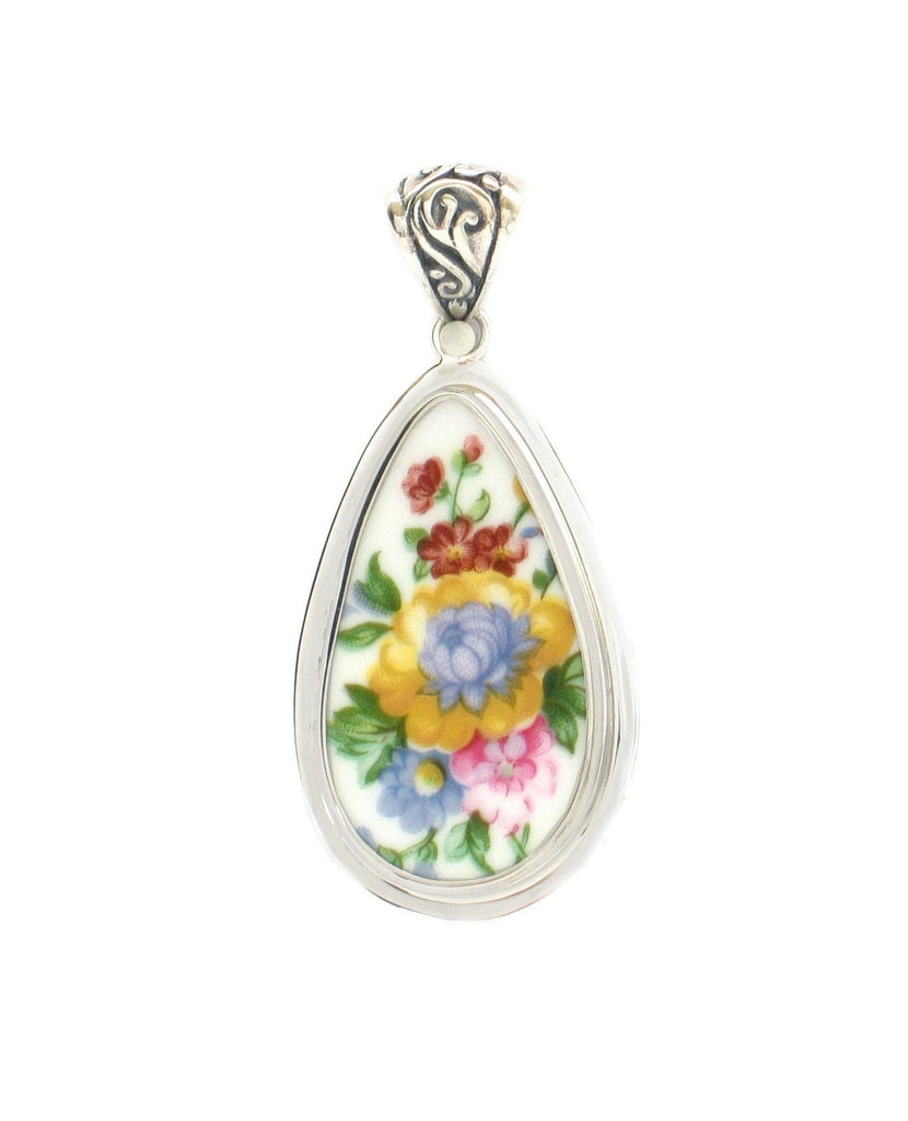 Broken China Jewelry Royal Albert Lady Carlyle Blue & Yellow Flower Sterling Tall Drop Pendant
