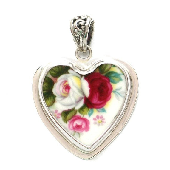 Broken China Jewelry Royal Albert Celebration Rose Pink & White Roses Sterling Heart Pendant
