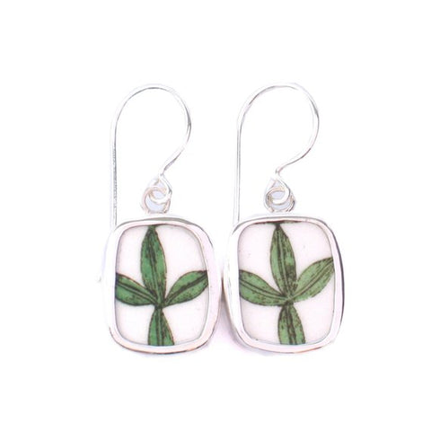 Broken China Jewelry Portmeirion Botanic Garden Leaf Plate Edge Dangle Earrings