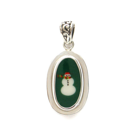 Broken China Jewelry Christmas Retro Green Snowman Snow man Sterling Oval Pendant