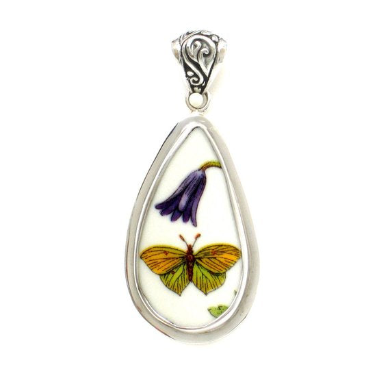 Portmeirion Botanic Garden Green & Yellow Garden Butterfly With Purple Flower Tall Sterling Drop Pendant