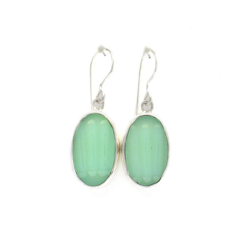 Broken China Jewelry Fire King Jadeite Sterling Oval Earrings