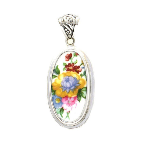 Broken China Jewelry Royal Albert Lady Carlyle Blue & Yellow Flower Sterling Tall Oval Pendant