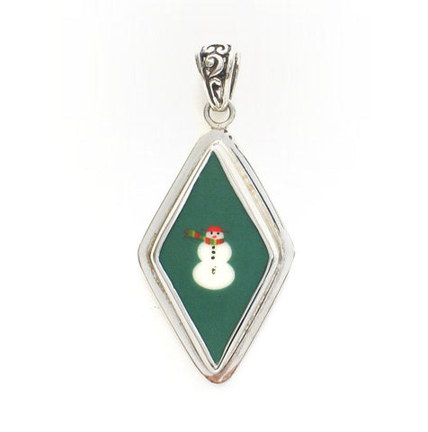 Broken China Jewelry Christmas Retro Green Snowman Snow Man Sterling Diamond Shaped Pendant