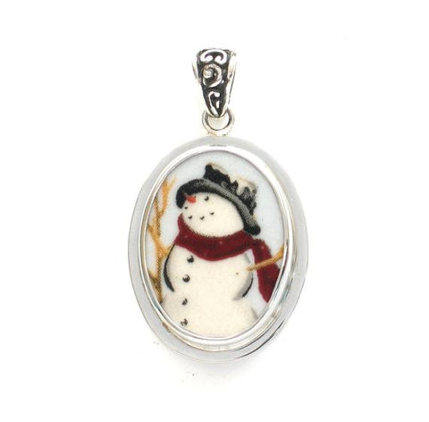 Broken China Jewelry Christmas Happy Snowman Left Facing Sterling Small Oval Pendant