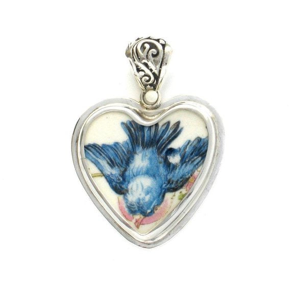 Broken China Jewelry Vintage Fluffy Blue Bird Bluebird From Above Sterling Heart Pendant