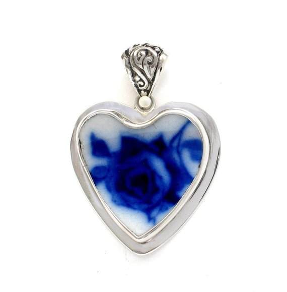 Broken China Jewelry Vintage English Flow Flo Blue Rose Large Sterling Heart Pendant